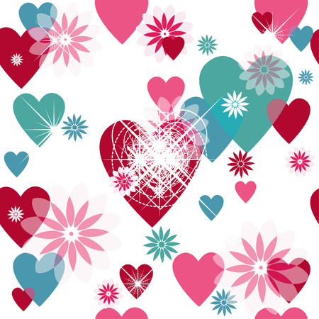 translucent: Seamless valentine spotty pattern with translucent hearts Vettoriali