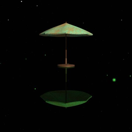 sun umbrella: Sun umbrella reflected in the night sky Stock Photo