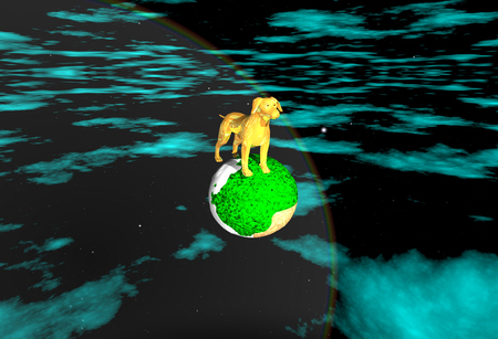 monument: Golden Dog Monument on an unknown planet Stock Photo