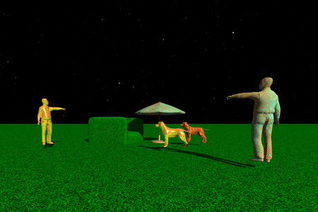 distant: Sculptures of dogs and people on a distant planet Stock Photo