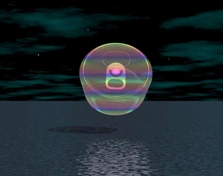 3d rainbow: 3D illustration: Rainbow bank on the water surface at night Stock Photo