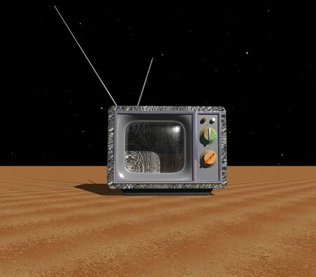 space television: 3D illustration: Old TV on an unknown planet Stock Photo
