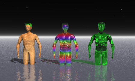 bathe: 3D illustration: Three alien in the ocean of the unknown planet