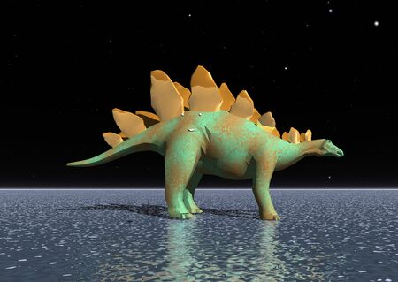 tyrannosaur: 3D illustration: A fantastic tyrannosaurus on the water surface at night Stock Photo