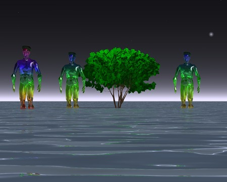 shallow water: 3d illustration: Three alien and a tree in shallow water Stock Photo