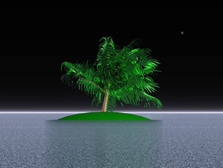desert island: 3D illustration: Palm on a desert island