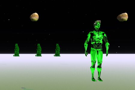green man: 3d illustration: The green man on an unknown planet Stock Photo