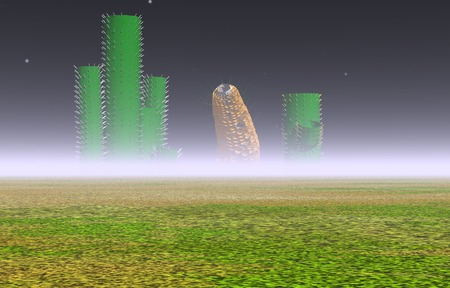 corn on the cob: 3d illustration: Mysterious cactus and corn cob on an unknown planet in the fog;