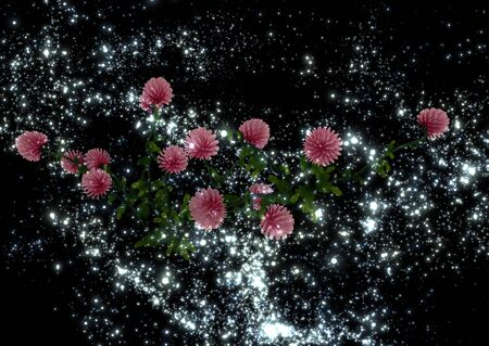 mysterious: 3d illustration: Mysterious clover flowers in the night sky a distant galaxy
