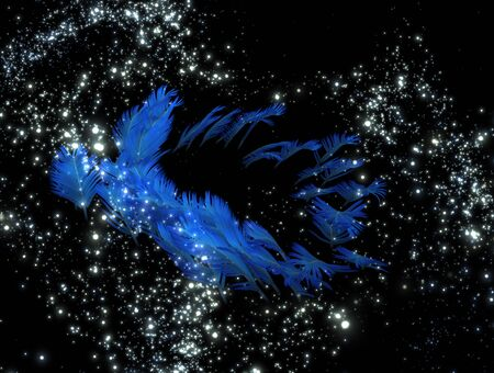 mysterious: 3d illustration: A mysterious object in the sky; like a great feather in the night sky a distant galaxy Stock Photo