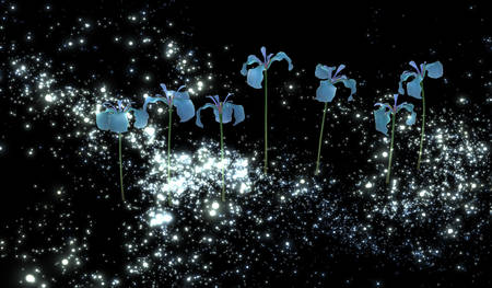 mysterious: 3d illustration: The mysterious blue irises in the night sky a distant galaxy
