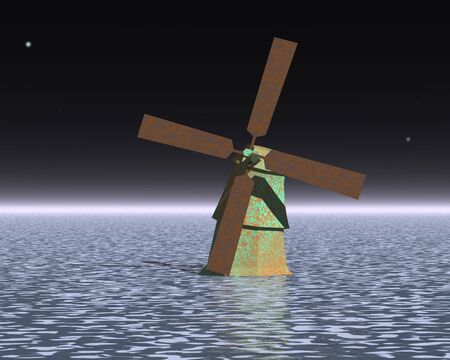 water mill: 3d illustration: The mysterious mill in the ocean in the night sky