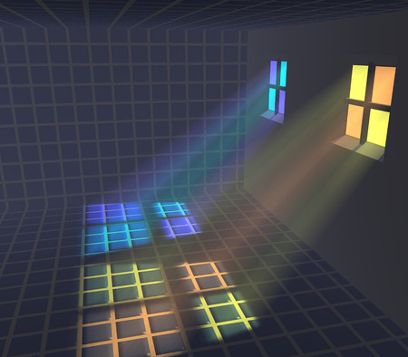 colored window: 3d illustration: Light is like through the colored window in a dark room Stock Photo