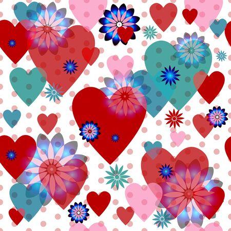 translucent: Seamless valentine spotty pattern with translucent hearts Illustration