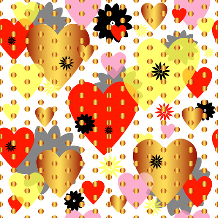 Seamless valentine spotty pattern with translucent hearts Illustration