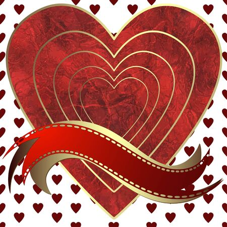 perforation tape: Image of heart on a hearts background in the form of square frame