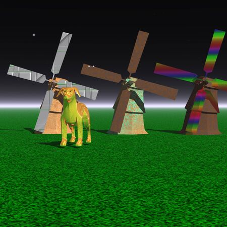mills: 3d illustration: Three mysterious mills and dog on an unknown planet