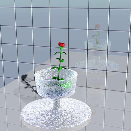 3d illustration of Red rose in a vase on background tile