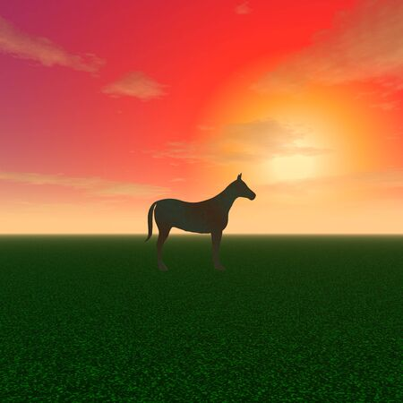 3d illustration: A mysterious sculpture of horses on sunset background Stock Photo