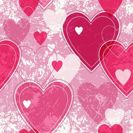 spotty: Seamless vector pink valentine spotty pattern with  translucent hearts