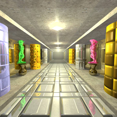 sculptures: 3d illustration: The mysterious room with columns and sculptures Stock Photo