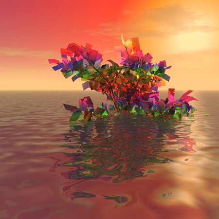 mysterious: 3d illustration: The mysterious iridescent plant in the ocean at sunset Stock Photo
