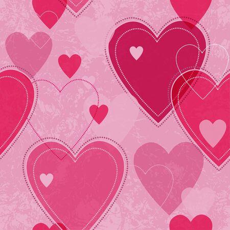 spotty: Seamless vector pink valentine spotty pattern with  translucent hearts