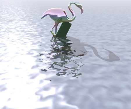 heron: 3d illustration: The mysterious heron on the water surface of an unknown body of water