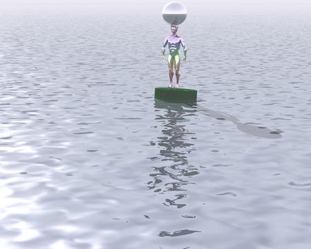"""3d illustration: """"sculpture arc avec une balle sur la tête au milieu de l'océan"""" Banque d'images - 63694905"""