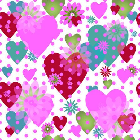 Seamless valentine spotty pattern with translucent hearts Illustration