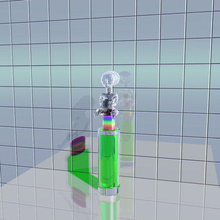 refraction: 3d illustration: A mysterious figure on the bottle with a perfume Stock Photo