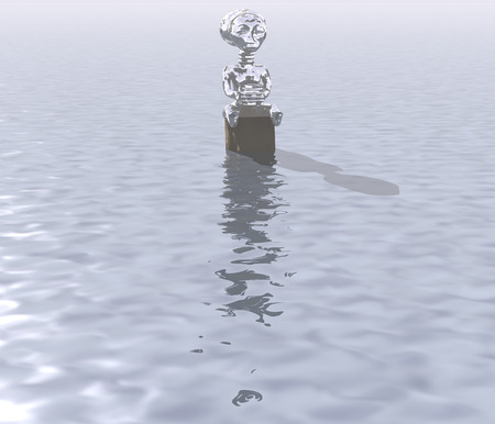 drift: 3d illustration: A mysterious figure to snag on the water surface Stock Photo
