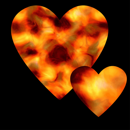 ardent: Two ardent hearts on a black background