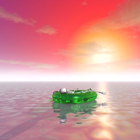 remains: 3d illustration: The remains of the man in an inflatable boat on the surface of the ocean at sunset