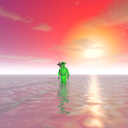 shallow water: 3d illustration: Two alien talk in shallow water at sunset Stock Photo