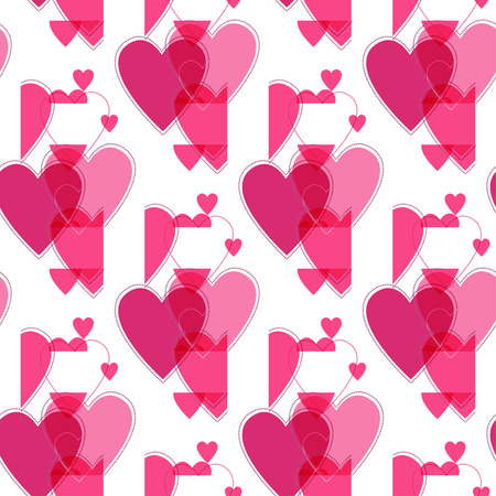 Seamless vector pink valentine spotty pattern with  translucent hearts (vector eps 10)