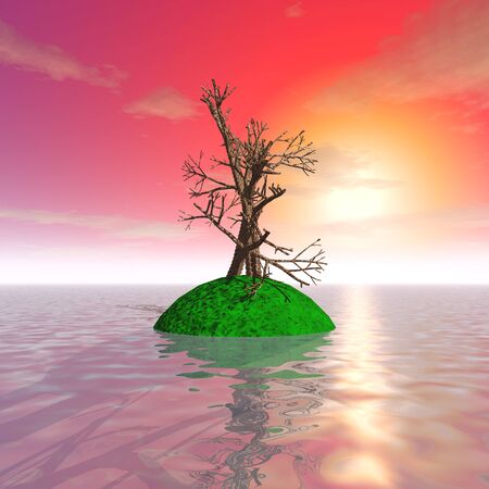 3d illustration: fantastic old tree at sunset