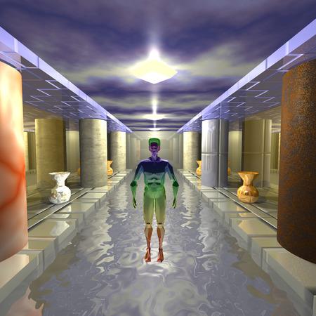 3d illustration: A mysterious stranger swimming pool