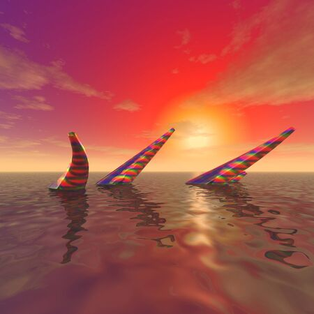 3d illustration: Mysterious objects sticking out from the surface of the ocean against the background of sunset Фото со стока