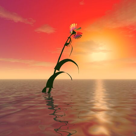 3d illustration: A mysterious huge flower sticks out from the surface of the ocean against the background of sunset