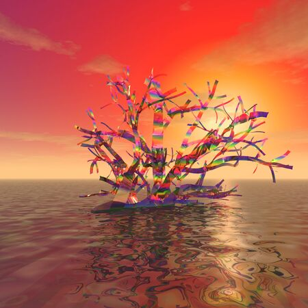 3d illustration: Mysterious rainbow branches on the ocean surface against the sunset Фото со стока