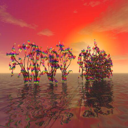 3 d イラストレーション:装飾:「不思議な植物が夕日の背景に海の表面から突き出る」 写真素材