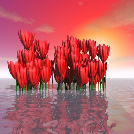 stick out: 3d illustration: Decoration: Mysterious flowers stick out from the surface of the ocean on a sunset background
