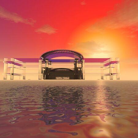 3 d イラストレーション:装飾:神秘的なガラスの夕日を背景に海の表面の建物