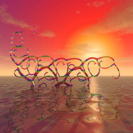 3 d イラストレーション:装飾:神秘的な虹の背景に夕日の海の表面にカール