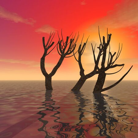 3d illustration: Decoration: Mysterious trees in the shallow waters of the ocean against the backdrop of sunset