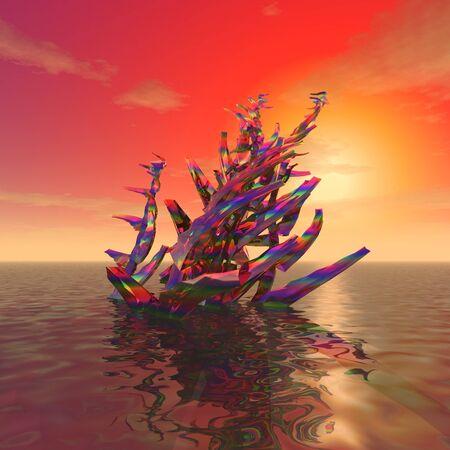 3 d イラストレーション:装飾:「夕日と海の表面に植物の謎」