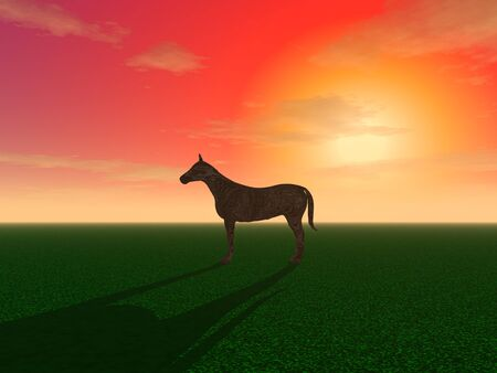 3d illustration: Decoration: A horse is grazing in a meadow  Imagens