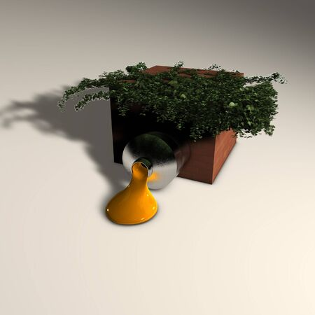 3d illustration: Decoration: Mysterious tube with paint in a box overgrown with ivy  Stock Photo