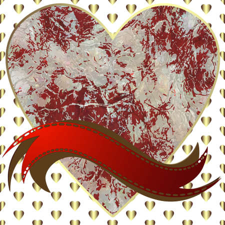 Image of heart on a hearts background in the form of square tiles Vector illustration. Illustration